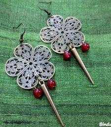 Buy Brass_Flower_Red_Beads_Spear_Earrings danglers-drop online