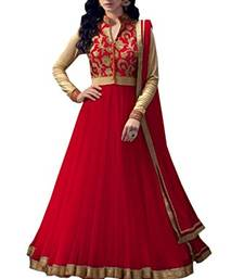 Buy RED embroidered pure net semi stitched salwar with dupatta semi-stitched-salwar-suit online