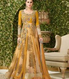 Buy Orange embroidered net semi stitched salwar with dupatta semi-stitched-salwar-suit online