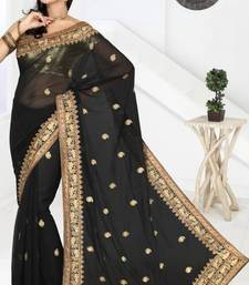 Buy Black color faux chiffon saree with blouse chiffon-saree online