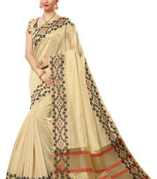 Buy Beige woven cotton saree with blouse cotton-saree online