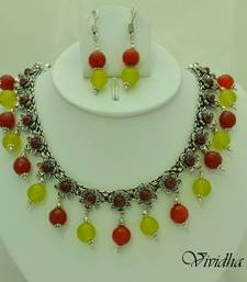 Buy White Metal and Yellow/Red Beads Necklace set necklace-set online