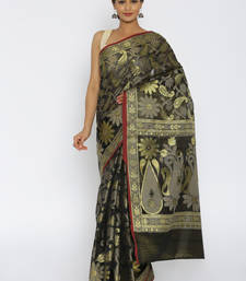 Buy Black woven cotton saree with blouse cotton-saree online
