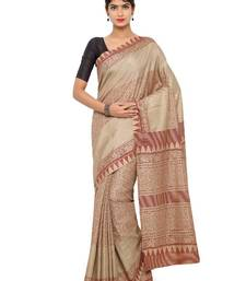 Buy Multicolor printed jute cotton saree with blouse jute-saree online
