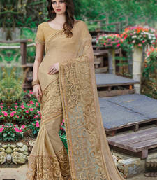 Buy Golden embroidered georgette saree with blouse wedding-saree online