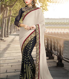 Buy Cream embroidered art silk saree with blouse wedding-saree online