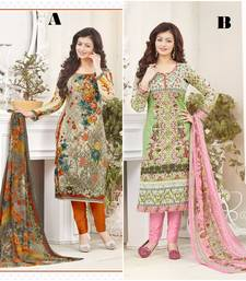Buy Multicolor printed cotton unstitched salwar with dupatta salwar-combo online
