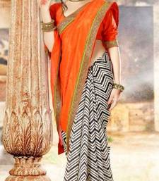 Buy Designer Orange & Off-white Bhagalpuri Silk Saree viscose-saree online