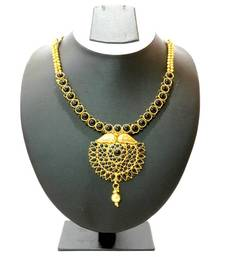 Buy Traditional Stone Necklace & Earring - Black necklace-set online