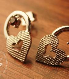 Buy Purple Crystal Heart shape Earrings Brushed Silver attached Pink Gemstone Earring online