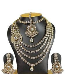 Buy Venky Style Crystal Necklace Set in White bridal-set online