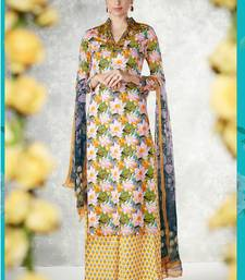 Buy Multicolor embroidered pure cotton silk semi stitched salwar with dupatta punjabi-suit online