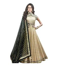 Buy Dark chiku embroidered art silk semi stitched salwar with dupatta anarkali-salwar-kameez online