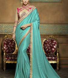 Buy Sky blue embroidered crepe saree with blouse wedding-saree online
