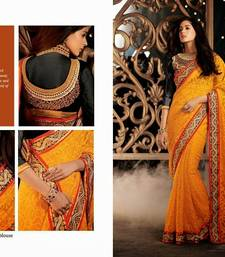 Buy Yellow color Styloce designer sarees with blouse designer-embroidered-saree online