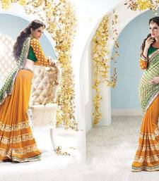 Buy Hypnotex Orange Green Viscose Georgette Saree Surbhi4103 designer-embroidered-saree online