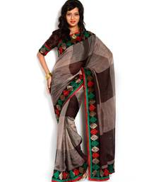 Buy Moiaa Beauteous brown color cotton designer saree with stylish unstitched blouse piece cotton-saree online
