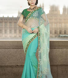 Buy Sea green embroidered net saree with blouse wedding-saree online