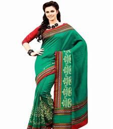 Buy Aria printed sea green raw silk saree 2363 tussar-silk-saree online