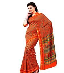 Buy Aria printed dark orange raw silk saree 2370 tussar-silk-saree online