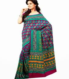 Buy Aria printed raani pink raw silk saree 2379 tussar-silk-saree online