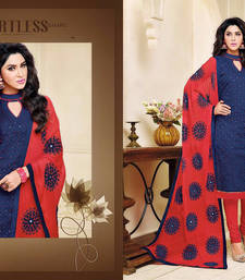 Buy blue embroidered cotton_silk semi stitched salwar with dupatta semi-stitched-salwar-suit online