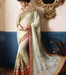 Buy Off white embroidered georgette saree with blouse traditional-saree online