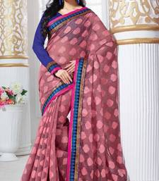 Buy Party Wear  Rusty Peach Color Jute Jacquard Saree with Blouse jute-saree online