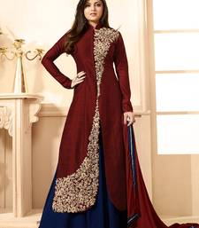 Buy Maroon embroidered cotton silk salwar with dupatta semi-stitched-salwar-suit online