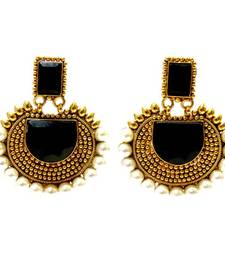 Buy Rectangular Semicircle Stone Earrings - Black danglers-drop online