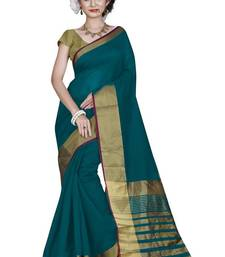 Buy light_blue printed cotton saree with blouse cotton-saree online