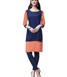 Blue plain rayon long-kurtis shop online