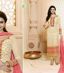 Buy Cream embroidered georgette salwar with dupatta semi-stitched-salwar-suit online