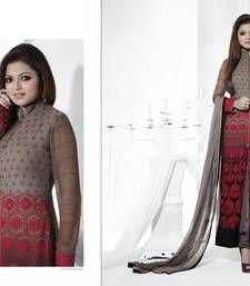 Buy grey embroidered gergotte salwar with dupatta anarkali-salwar-kameez online