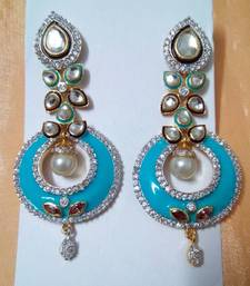 Buy Ethnic AD CZ Enamel Fusion Earrings danglers-drop online