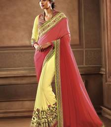 Buy Coral embroidered georgette saree with blouse wedding-saree online