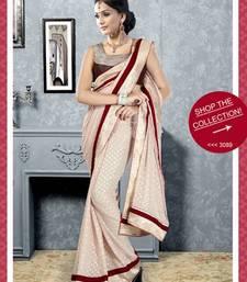 Buy Coffee Cream color embroidered designer saree viscose-saree online