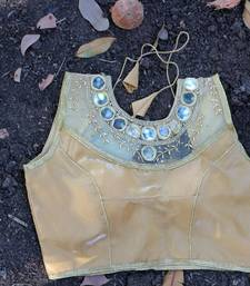 Buy Beige Satin Silk Mirror stitched blouse readymade-blouse online