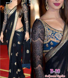 Priyanka chopra bollywood black net saree shop online