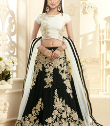 Buy Black hand woven georgette unstitched lehenga bollywood-lehenga online