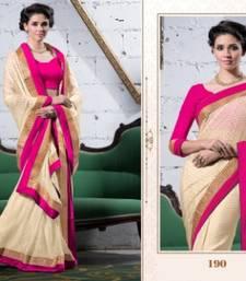 Buy Fashionic Off White Colour Brasso Saree Snls190 viscose-saree online