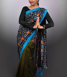 Buy Black & Olive Cartoon-print Saree printed-saree online