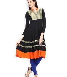 Buy kukn118 IraSoleil Viscose Women Black & Orange Anarkali Kurta kurtas-and-kurti online