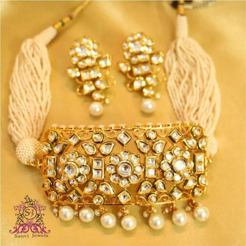 Buy Royal Kundan Amp Pearl Choker Necklace Set Online