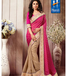 Buy Pink & Cream Georgette Designer Saree with blouse piece designer-embroidered-saree online