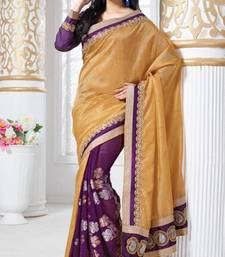 Buy Wine and Shine Gold Viscose jacquard and Silk jacquard saree with blouse viscose-saree online
