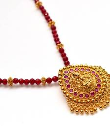 Buy Anvi's droplet shaped lakshmi pendent (Temple Jewellery) with rubies Necklace online