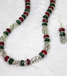 Buy Ethnic German Silver and Glass Beads Necklace and Earrings Set necklace-set online