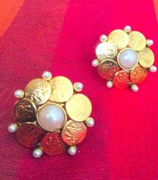 Buy Ram Leela Flower South Indian Design Pearl Ginni Goddess Lakshmi Stud ab73 stud online