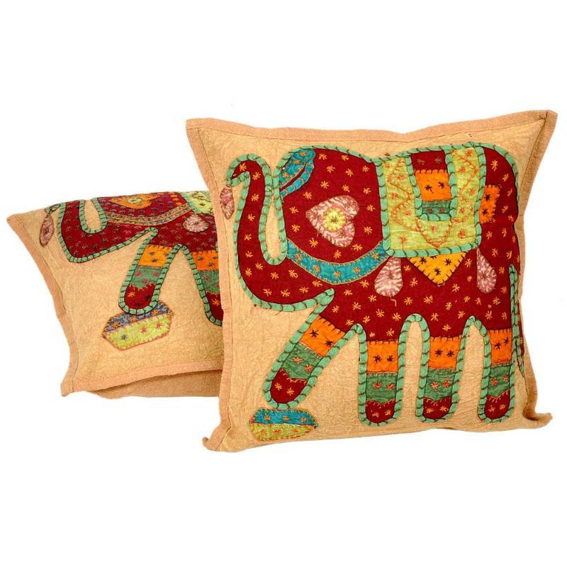 Buy Hand Embroidered Patchwork Cushion Cover Pair Online